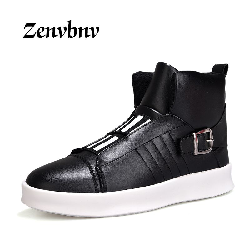 ZENVBNV 2018 New Luxury Mens Casual Shoes Flat shoes Autumn Comfortable Hip Hop High Top Flat Shoes PU Leather Shoes Size:39-44