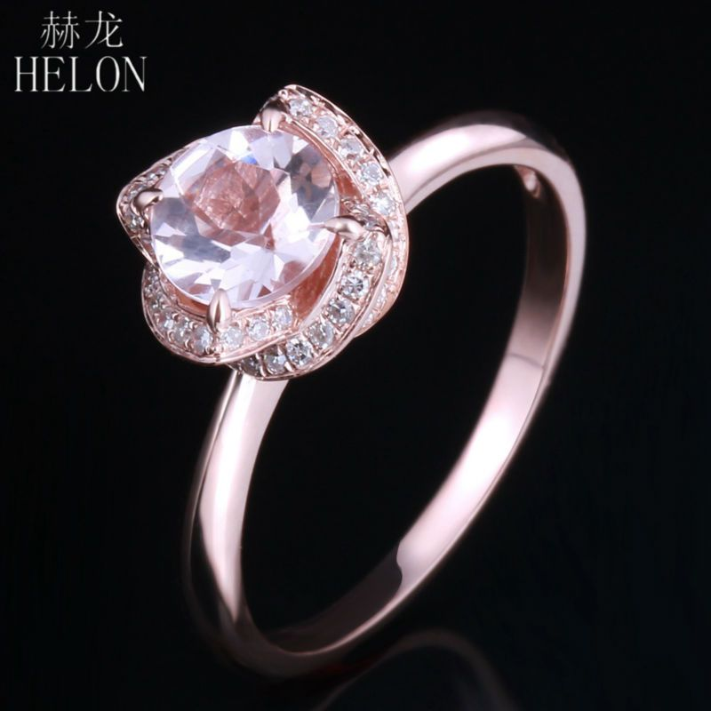 HELON 6.5mm Round 0.65ct Pink Morganite 0.16ct Pave Diamonds Flower Women's Ring Solid 10k Rose Gold Engagement Wedding Ring
