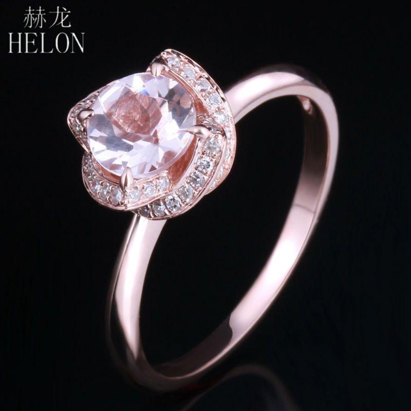 HELON 6,5mm Runde 0.65ct Rosa Morganit 0.16ct Pave Diamanten Blume frauen Ring Solide 10 karat Rose Gold Engagement hochzeit Ring