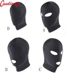 Seksi PU Kulit Lateks Hood Hitam Masker 4 Tyles Bernapas Headpiece Fetish BDSM Dewasa untuk Pesta