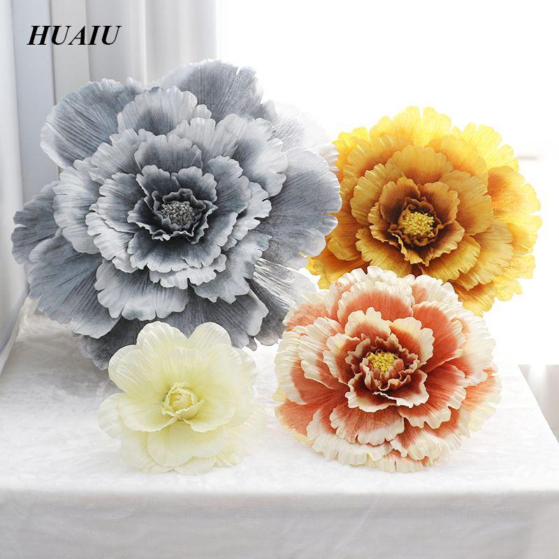 40 cm/50 cm/60 cm/70 cm/80 cm grande soie artificielle fleur Rose tête pour fond de mariage décoration murale 5 couleurs fleur toile de fond