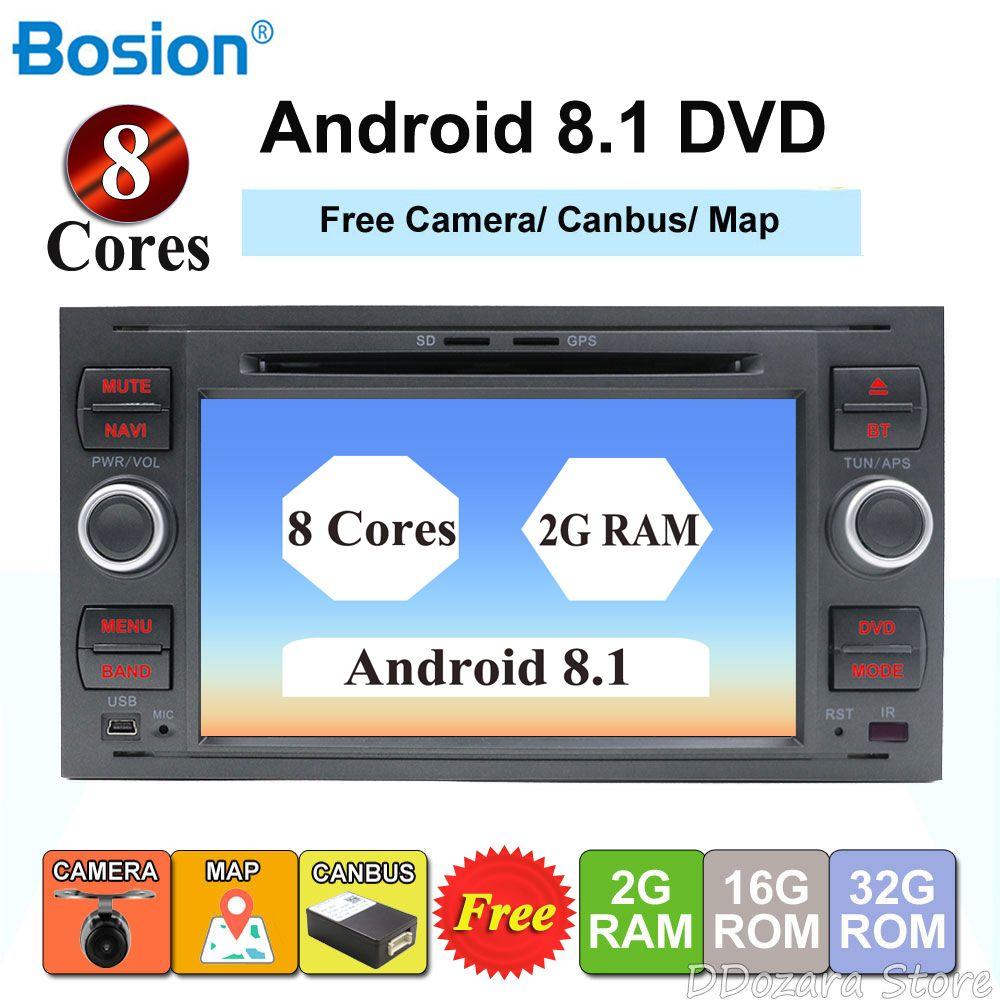 2 din android 8.1 octa cores auto dvd player gps für ford focus 2/mondeo/s max/c -max/fusion/fiesta/transit radio kopf einheit canbus