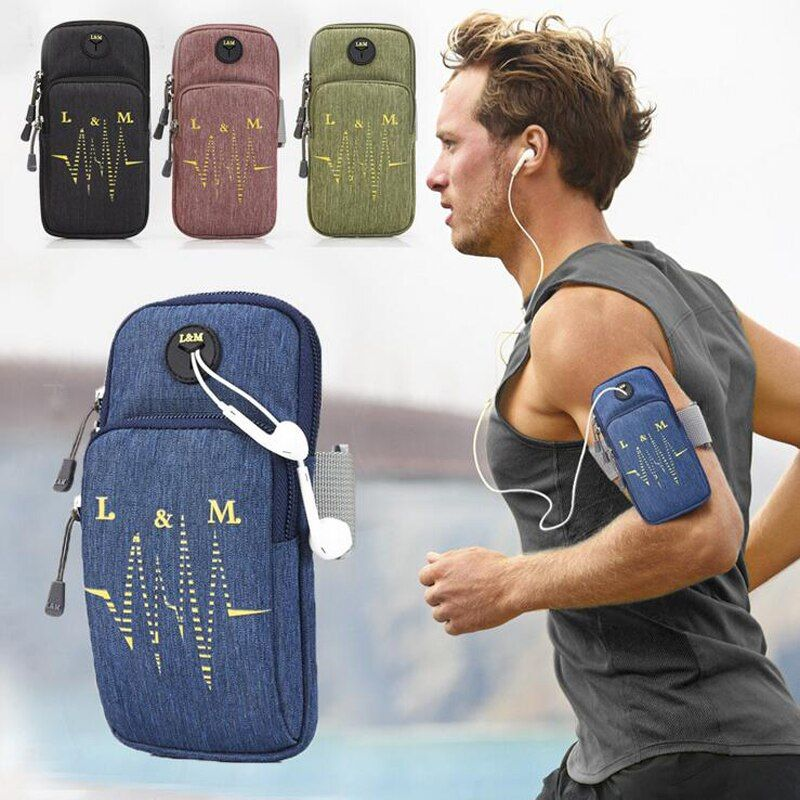 Sports Armbag Running Gym Arm Band Bag Warterproof Case Cover Holder With Music Headset Hole-Fits Outdoor Wallet Cellphone Packs