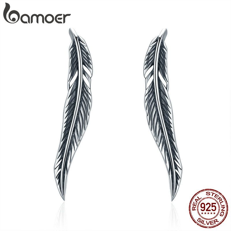 BAMOER Authentic 925 Sterling Silver Vintage Feather Wings Cuff Drop Earrings for Women Sterling Silver Earrings Jewelry SCE258