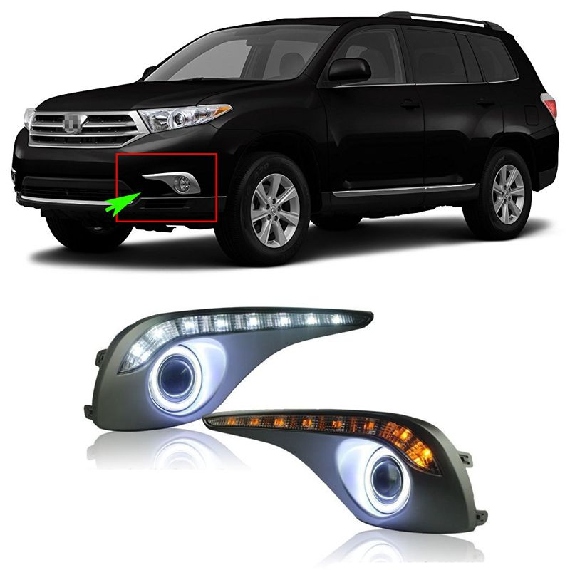Ownsun Superb 55W Halogen Bulbs COB Fog Lights +DRL Source Angel Eye Bumper Cover For Toyota Highlander 2012-2013