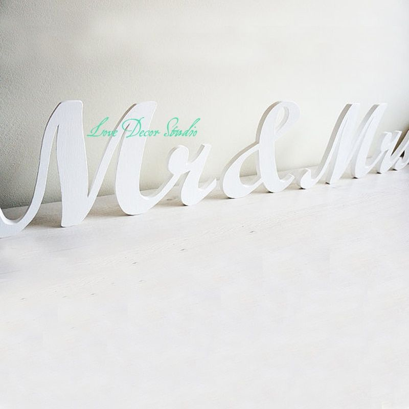 Free shipping custom pure white Wedding Sign Mr & Mrs pvc letters table decor, Wedding gift