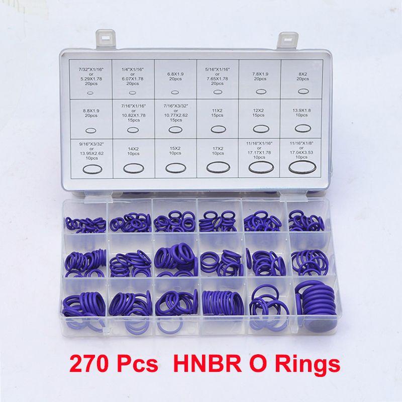 Mainpoint 270 Stücke 18 Größen Kit Klimaanlage HNBR O Ringe Oring Garage Set Auto Auto Fahrzeug Reparatur Mit Fall