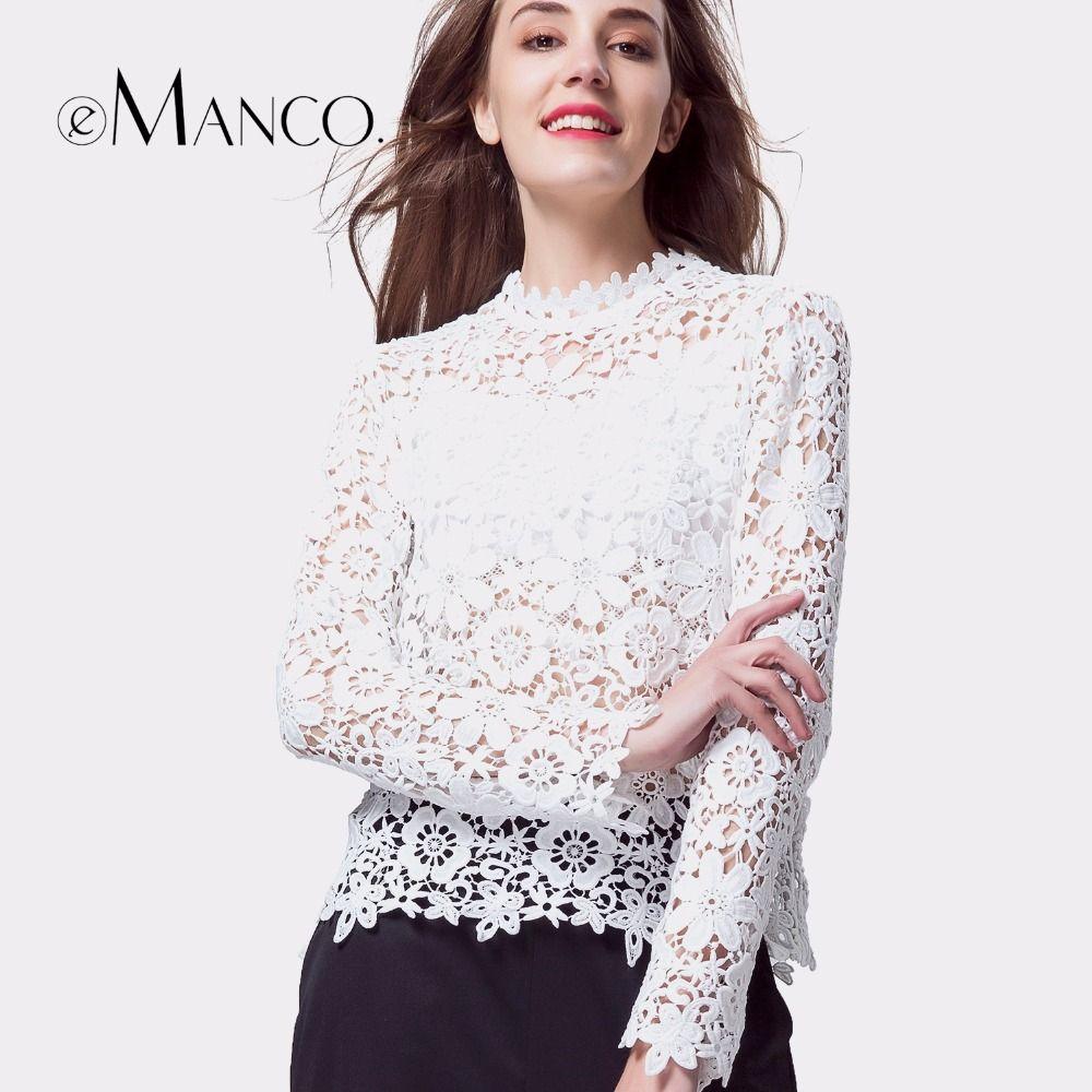 E-manco weißes t-shirt frauen langarm sommer spitze tops sexy elegante höhlen heraus Top tees beiläufige dünne oansatz kleidung