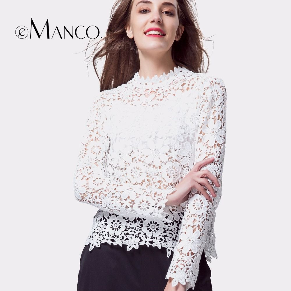 e-Manco white t-shirt women long sleeve summer lace tops sexy elegant hollow out flower Top tees casual slim o-neck clothes