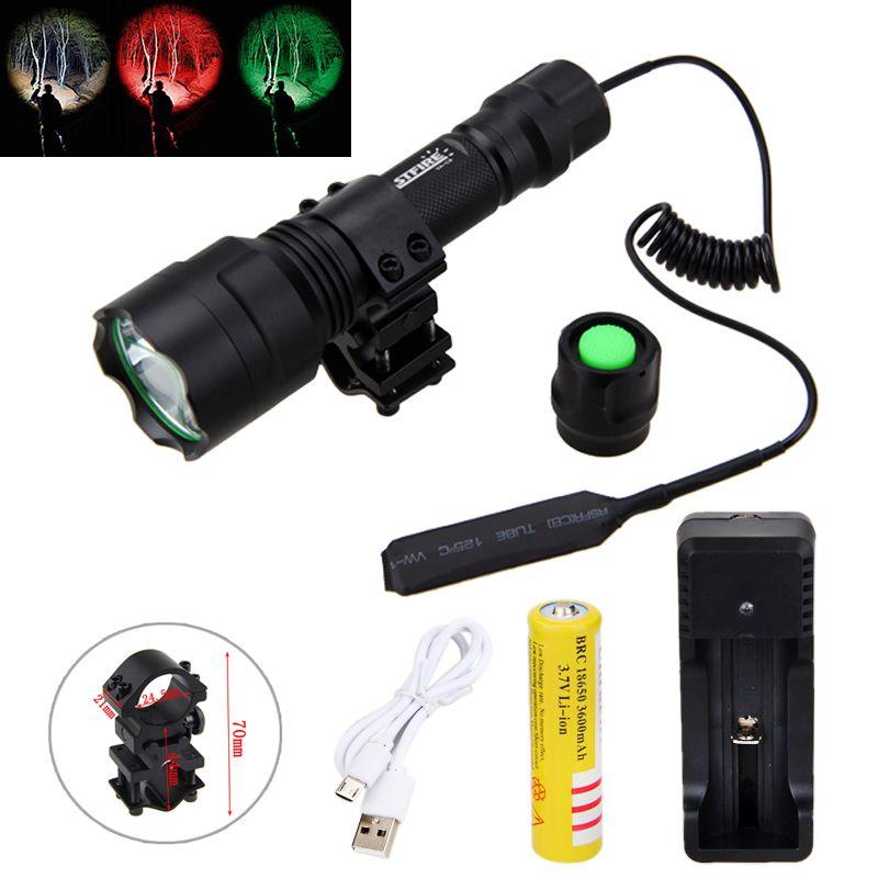 Tactique 2500lm T6 blanc Q5 vert/rouge lumière lampe de poche chasse lumière torche + portée montage + pressostat + 18650 batterie + chargeur
