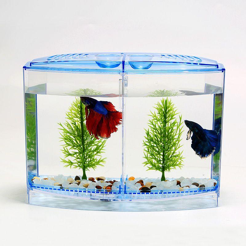 Aquarium Acrylique Double Bol Betta Poissons de Combat Mini Maison Boîte Pour Frire Isolement Écloserie Incubateur Reptile Cage Tortue Maison