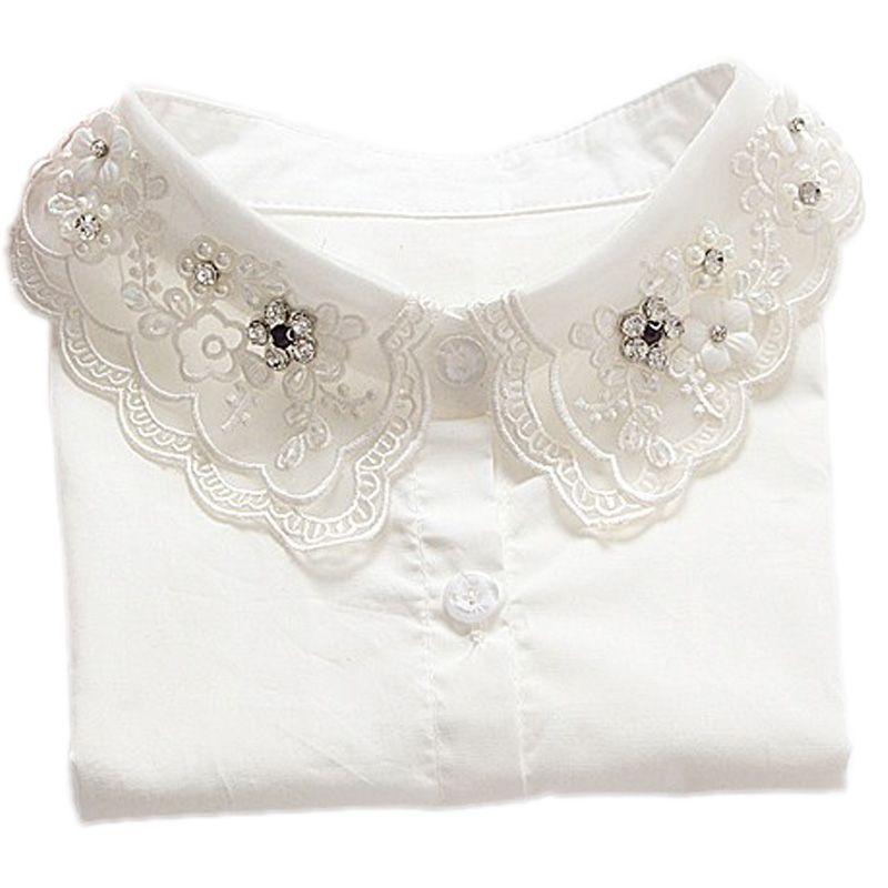 2017 chemise faux col blanc et noir cravate costume décoration faux col pour pullvers demi économie chemises amovibles faux colliers