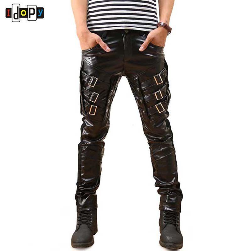 Nouveauté hommes coréen gothique Punk mode Faux cuir pantalon PU boucles Hip Hop Applique noir en cuir pantalon mâle
