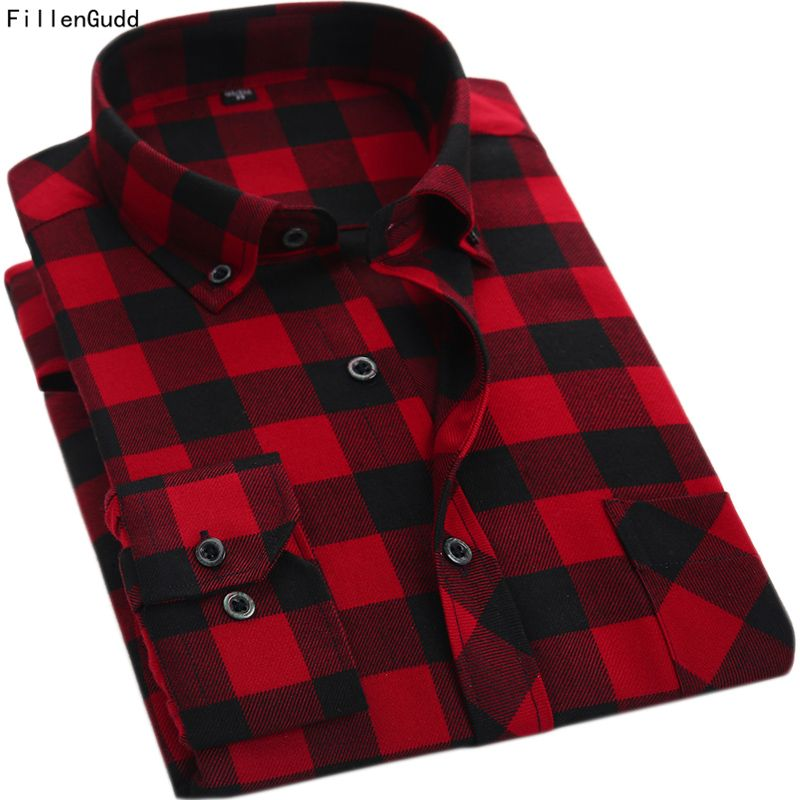 FillenGudd Quality Spring Autumn Red and black Plaid Men Shirts Turn down Collar Casual Long Sleeve Cheap <font><b>China</b></font> Brand-Clothing