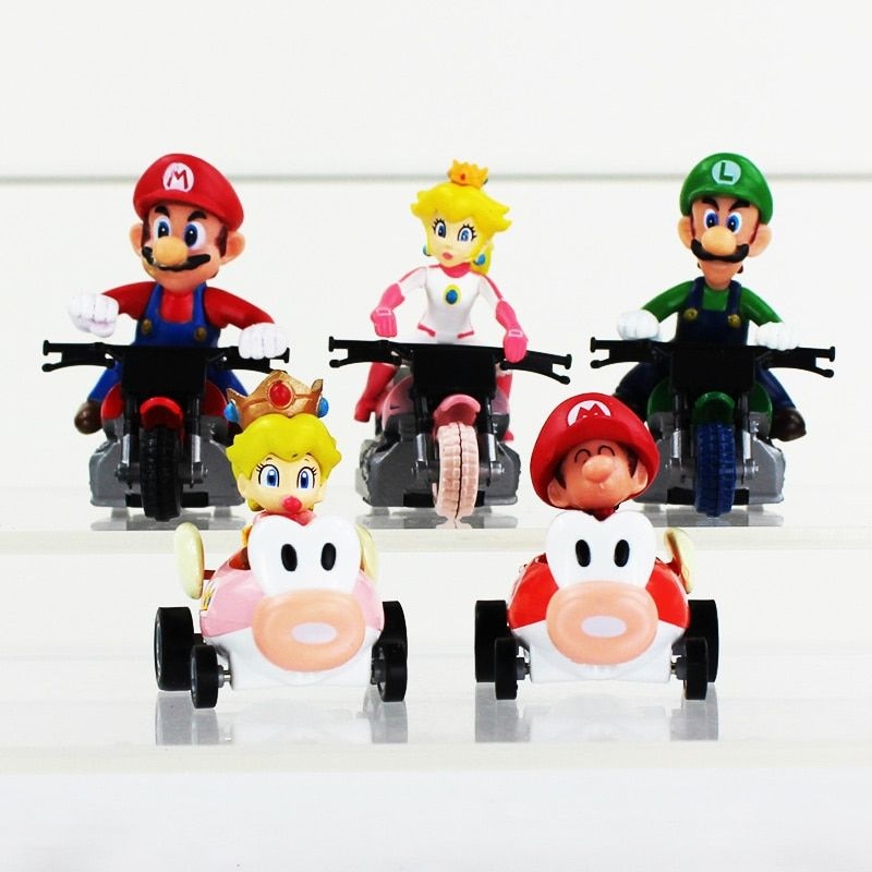 Super Mario Kart Pull Back Car 5 styles Kart Action Figures Toys with Retail as Gifts 5pcs /set