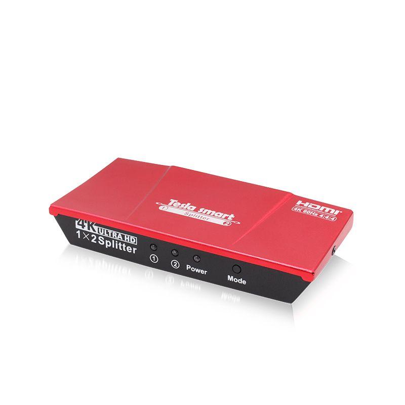 Tesla smart HDMI 4K@60Hz 4K(3840*2160)@60Hz 1080P 2 Port HDMI Splitter 1x2 with Power Adapter HDMI HDTV DVD PS3 Xbox Red