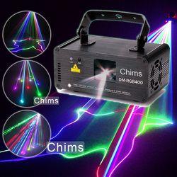 Chims DMX512 التحكم الليزر المرحلة الإضاءة RGB ماسحة العارض الملونة قوية مشرق ضوء شعاع 400 ميجا واط قناة حزب عطلة