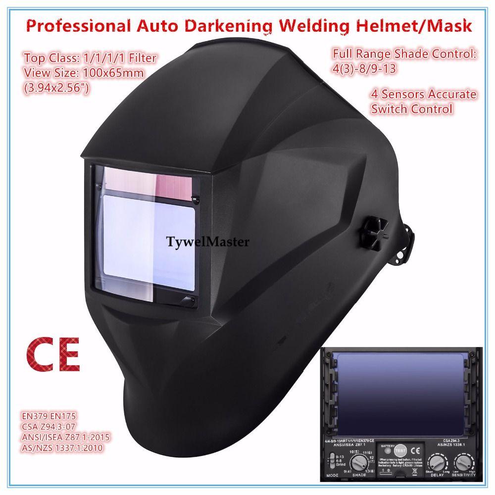 Welding Helmet Premium Mask 100*65mm 1111 4 Sensors Filter Welder Hat Cap Solar Auto Darkening MIG TIG Grinding 3-13 CE UL CSA