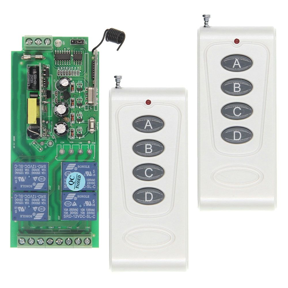 1000m High Power 10A Relay AC 220V 110V 85-265V 4 CH 4CH Wireless RF Remote Control Switch 2 Transmitter + Receiver