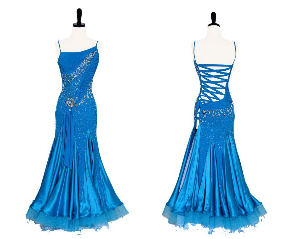 Standardballsaal Kleider Dame Nach Maß Flamenco Gesellschaftskleider Glas Stein Walzer Ballsaal Wettbewerb Tanzkleid