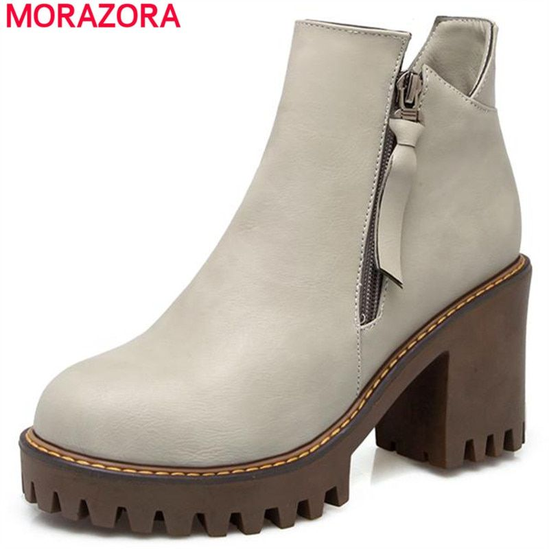 MORAZORA 2018 Restoring style big size 34-43 ankle boots solid pu high heels boots punk fashion boots women shoes autumn