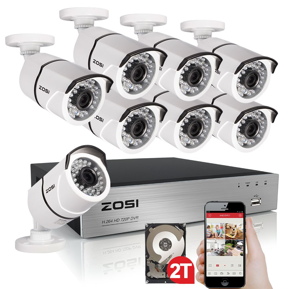ZOSI HD 2MP Video Surveillance CCTV System 8CH Full HD 1080P HD TVI AHD DVR Kit 8*1080P Outdoor Security Camera System 2TB