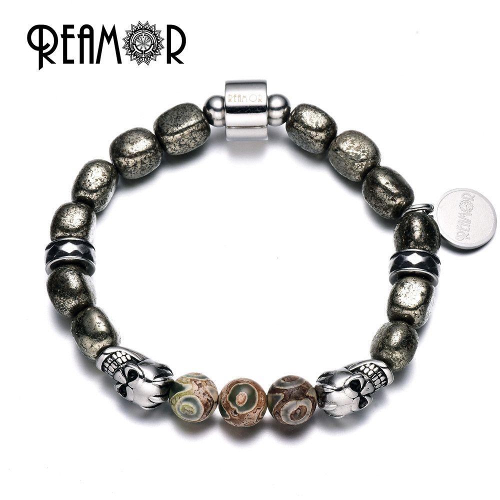 REAMOR Natural Iron Pyrite Beads & Dzi Stones Bracelet 316l Stainless Steel Skull Head Beads Men Energetic Bracelets for Men