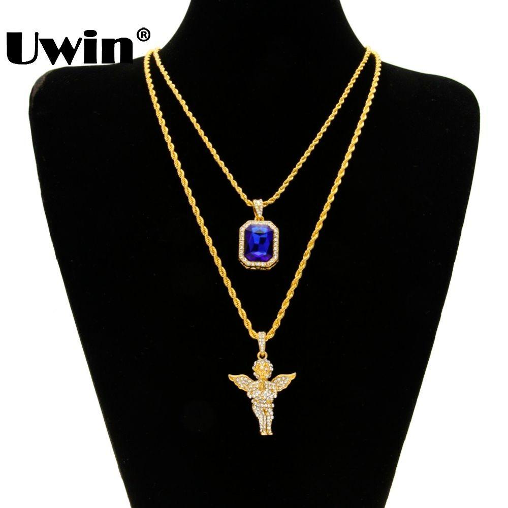 Hommes glacé Hiphop Mini rouge bleu noir pierre pendentif et Mini jésus tête Bling bébé ange pièce ailes Penadnt collier ensemble