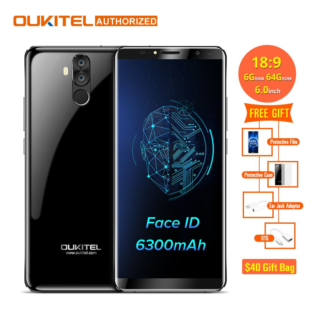 Oukitel K6 18:9 6,0 ''Display Gesicht ID 6 GB RAM 64 GB ROM MTK6763 Octa-core 6300 mAh Schnellladung Fingerprint 16MP 4 Cams Handy
