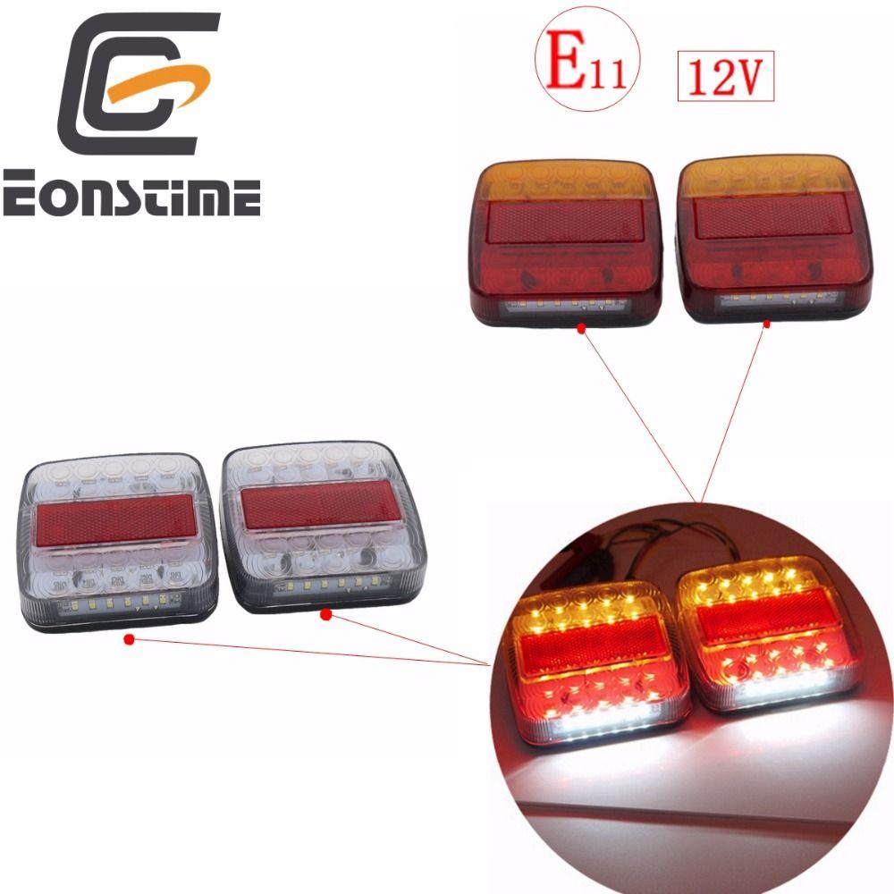 Eonstime 2pcs 12V Trailer Truck 26 LED Taillight Tail Light Rear Lamps Turn Signal <font><b>Brake</b></font> 6 LED Number Plate Light Lamp
