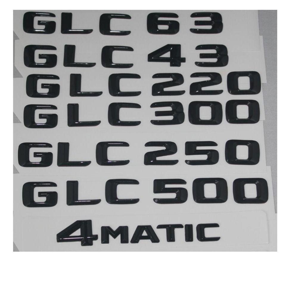 Gloss Black Trunk Letters Number Badge Emblem Emblems for Mercedes Benz GLC63 GLC43 GLC350 GLC300 GLC250 GLC500 4MATIC