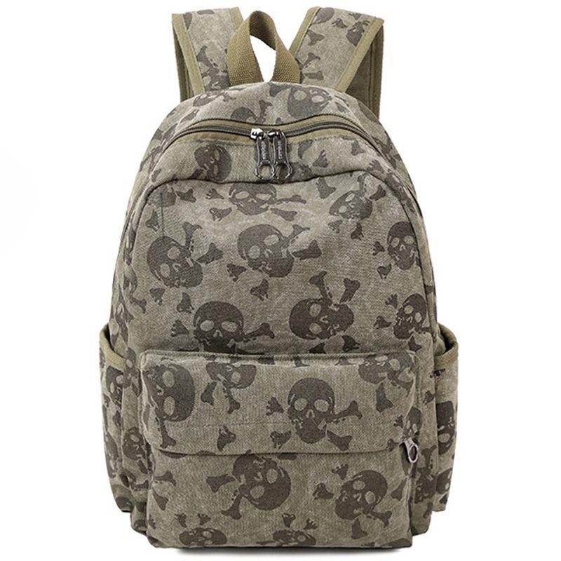 2018 Fashion Skull Women Canvas Backpacks School Bags for Teenagers Large Capacity Travel Backpack Bookbag Rucksack Mochila F086
