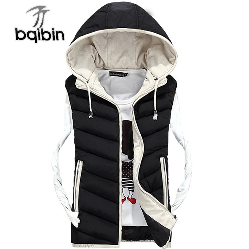 2017 Brand Clothing Casual Waistcoats Men's Hooded Vests Winter Sleeveless Jackets Male Vests Slim Fit Plus Size 4XL