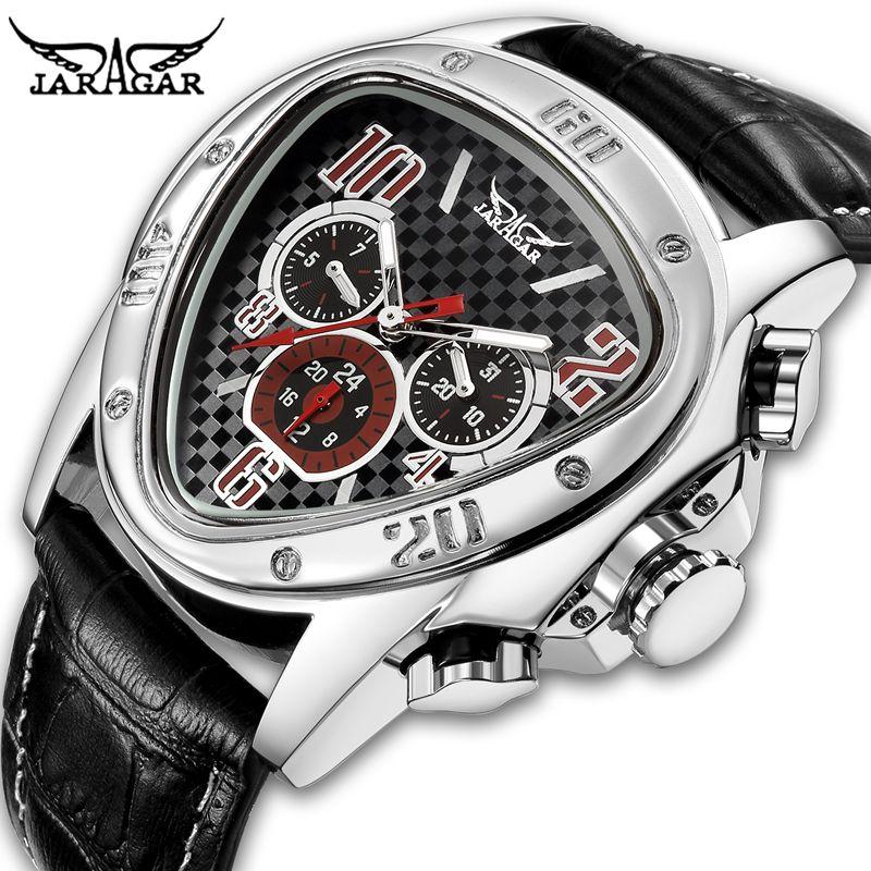 Jaragar Men's Sport Watches Racing Design Geometric Triangle Watch Men Genuine Leather Strap Watches Male Automatic Wrist Watch