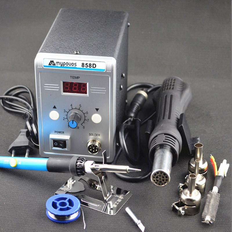 Station de soudure 700 W 858D LED station de dessoudage de fer à souder numérique BGA Station de soudure pistolet à Air chaud + ensemble de fer électrique