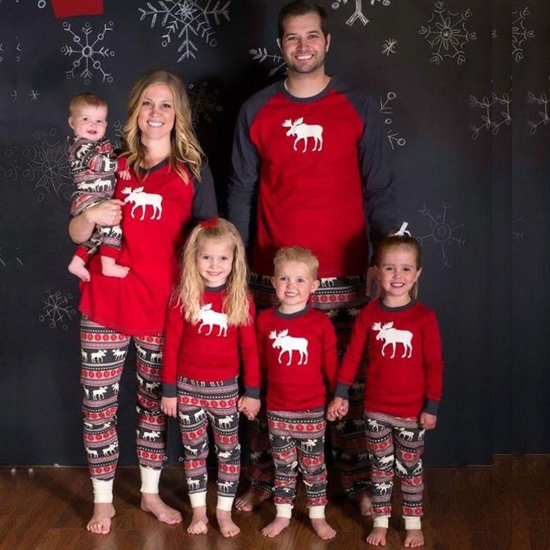 Pudcoco 2017 Familia Juego Trajes de Año Nuevo Navidad De La Familia Pijama Tops y Pantalones Set Familia Padre Madre Del Bebé Embroma la Ropa