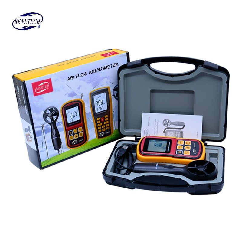 With carry box BENETECH GM8901 Anemometer High Accuracy LCD Display Digital Wind Meter Air Velocity Temperature Meter
