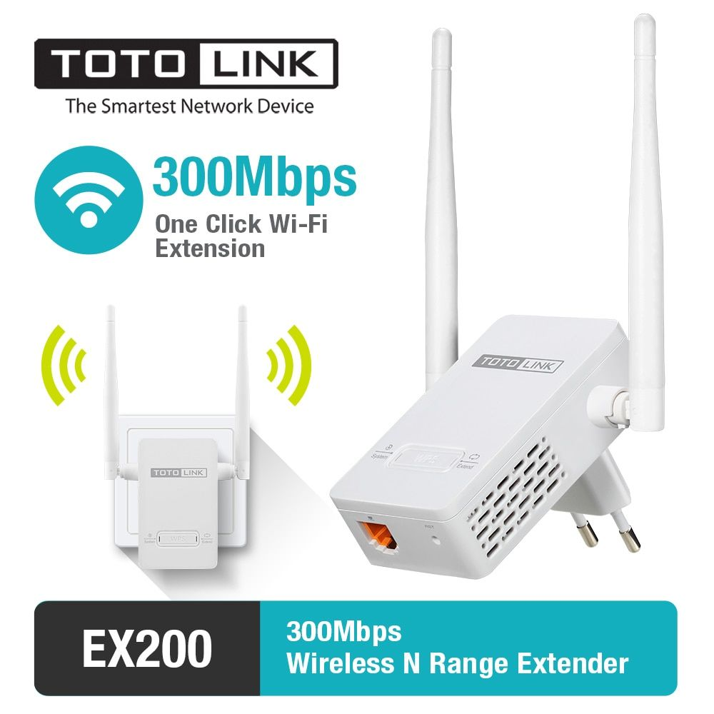 TOTOLINK EX200 300Mbps Easy Setup Range Extender WiFi Repeater with 2*4dBi External Antennas, Delivery From Russia