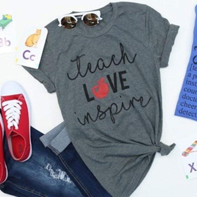 Femmes T-Shirts à manches courtes lâche o-cou enseigner l'amour inspirer apple imprimé haut d'été décontracté gris femme t-shirt dames hauts t-shirt