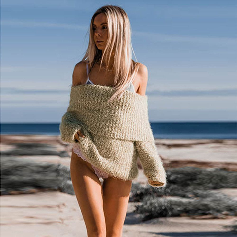 Womens Sweaters 2017 Strapless long sleeves loose women's sweaters Sweater For Women Pull Femme Manche Longue #00