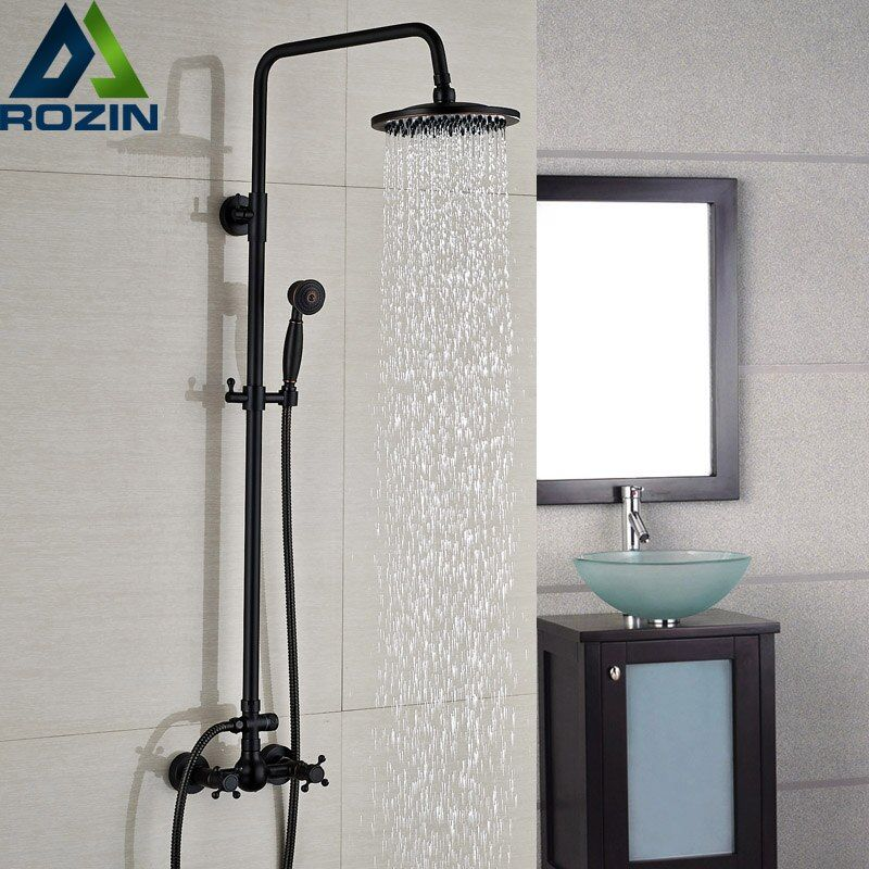 Luxury Bronze Black Bathroom Shower Bath Faucet Dual Handles In Wall Washing Room Shower Mixer Taps 8