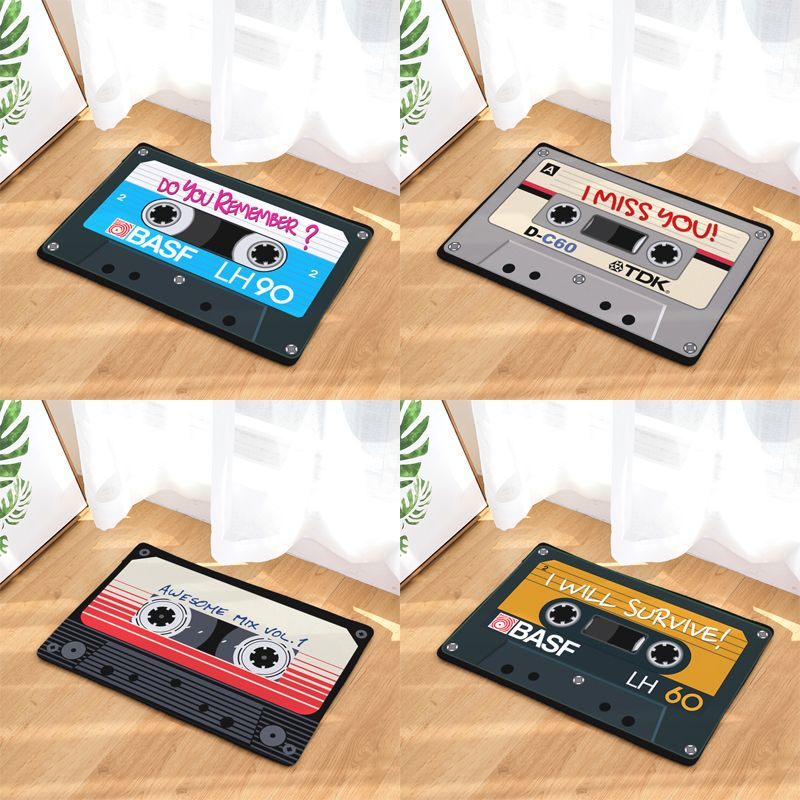 Vintage Entrance Anti-Slip Doormat Magnetic casset Tape Mix Tape Carpets Bedroom Rugs Decorative Stair Mats Home felpudo deurmat