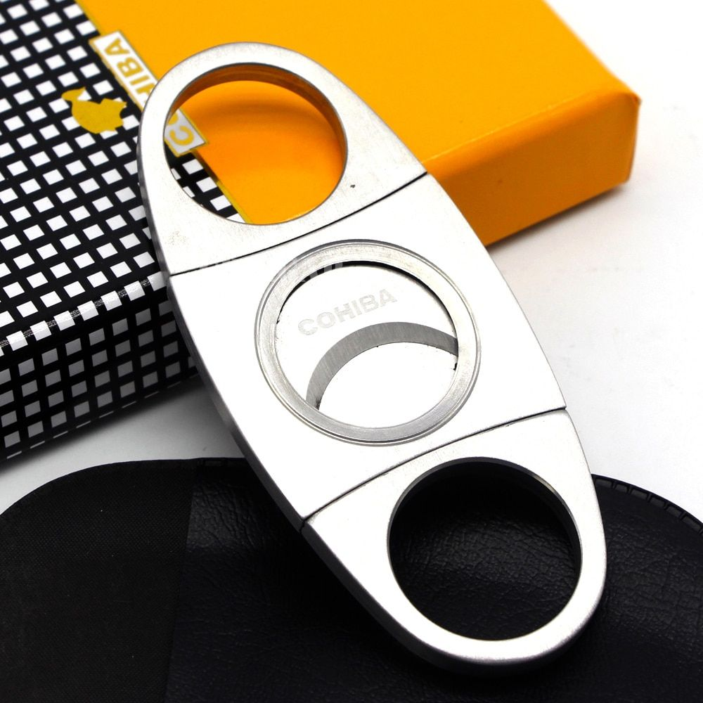 COHIBA Brand New Stainless Steel Metal Classic Cigar Cutter Guillotine with Gift Box