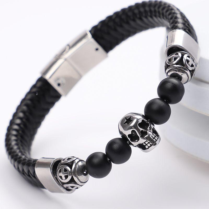 Mens Bracelets 2019 Crystal Natural Stone Bracelet Snap Jewelry Leather Stainless Steel Jewelry Skull Chakra Bracelet