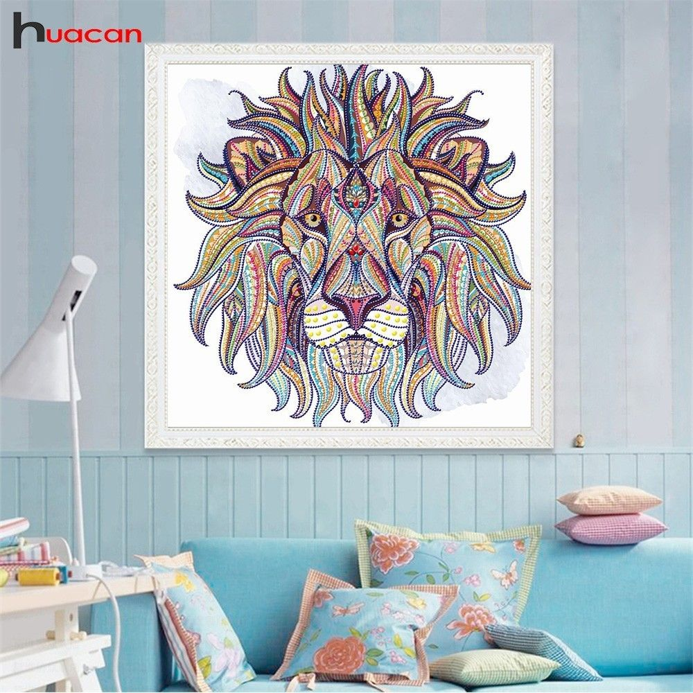 Huacan Diamond Embroidery Animal <font><b>Special</b></font> Shaped Diamond Painting Cross Stitch Lion DIY Mosaic Bead Picture Unfinished Kit