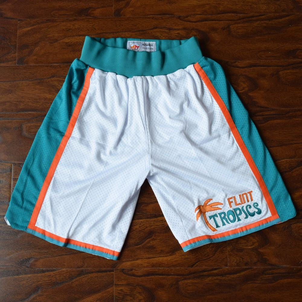 MM MASMIG <font><b>Semi</b></font> Pro Flint Tropics Basketball Shorts Stitched White
