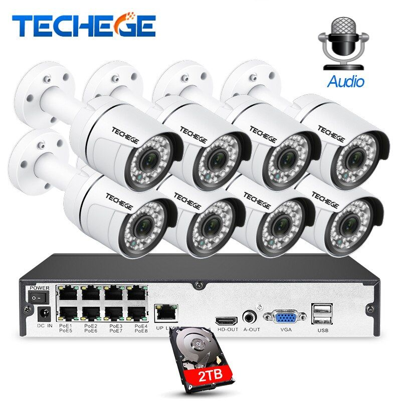 Techege 8CH CCTV System 8PCS 3000TVL Audio Outdoor Weatherproof IP Camera 1080P Motion Detection Onvif Video Surveillance System