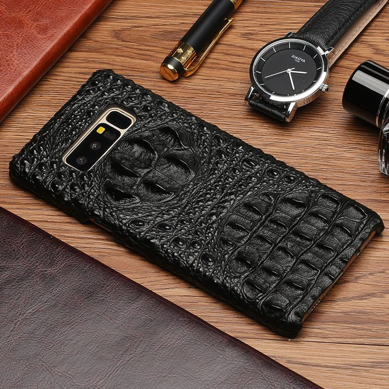 Genuine Leather Phone Case For Samsung Galxay Note 8 9 S7 S8 S9 Plus A3 A5 A7 J3 J5 J7 Crocodile skull texture Original Cowhide