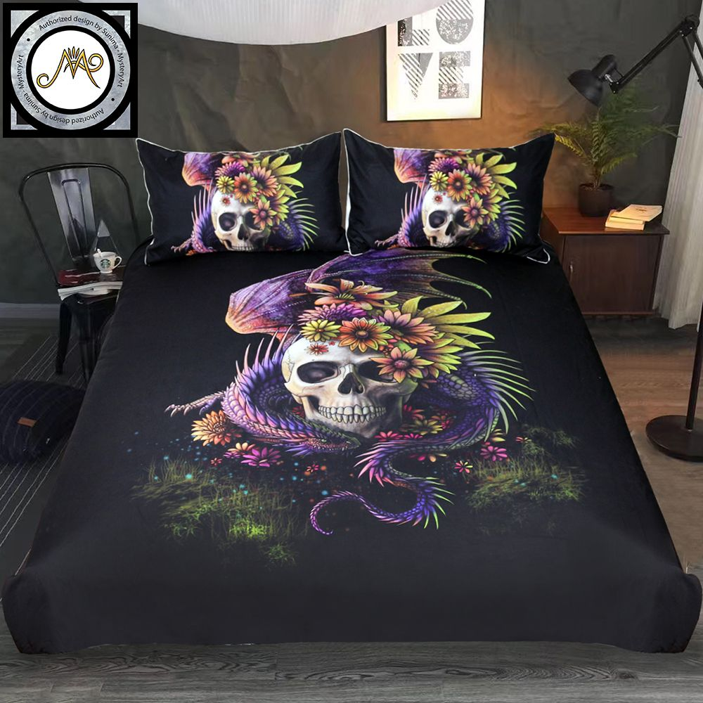 Flowery Skull by Sunima Bedding Set Purple Gothic Duvet Cover Dangerous Monster Floral Bed Set 3-Piece Mystery Art Bedclothes