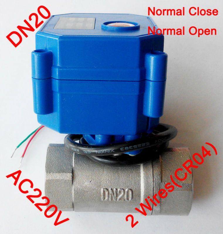 3/4 Mini elektrische motor ventil 2 drähte (CR04), AC220V motorisierte ventil SS304, DN20 elektrische automatische ventil mit federrückstellung